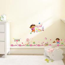 Дора с цветными цветами наклейки на стену для детского сада девушки комнаты плинтус украшение дома мультфильм росписи искусства детские на...(Китай)