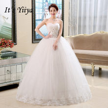 זה YiiYa חתונה שמלת כלה רקמת תחרה נסיכת כדור שמלות לבן סטרפלס ללא שרוולים תחרה עד חתונת שמלות HS131(China)