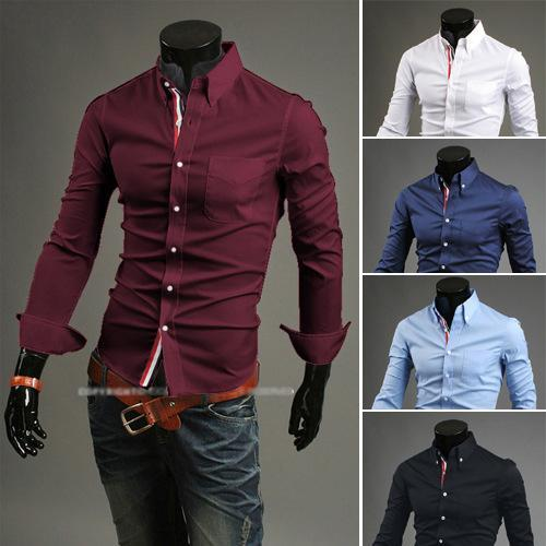 2015 Real Sale Regular Solid Single Breasted Cotton Turn-down Collar Full Men's Shirts Casual Shirt Ribbon Ornament Clean(China (Mainland))