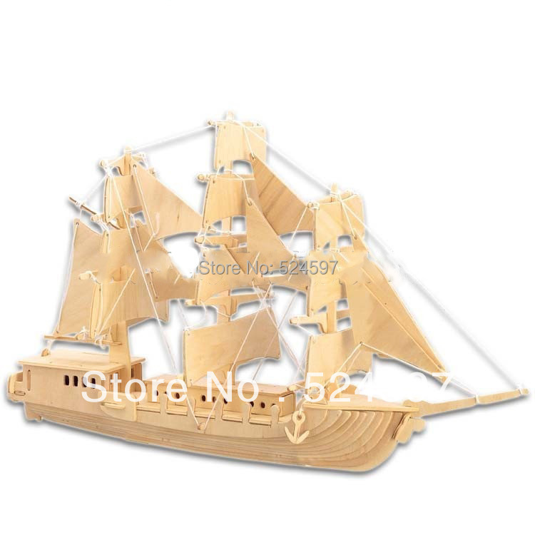 2015 New Design Factory direct Children Educational Gift popular handmade sailboat toy 3D diy wooden puzzle toys WJ0067(China (Mainland))