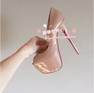 Nude color waterproof paint fish mouth ultra high heels womens shoes 16 cm party shoes red bottom high heels Genuine leather<br><br>Aliexpress
