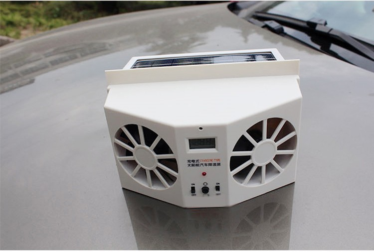 Ivory Solar Power Car Air Cooler Ventilator Front Rear Window Air Vent Cool Cooler Cooling Fan