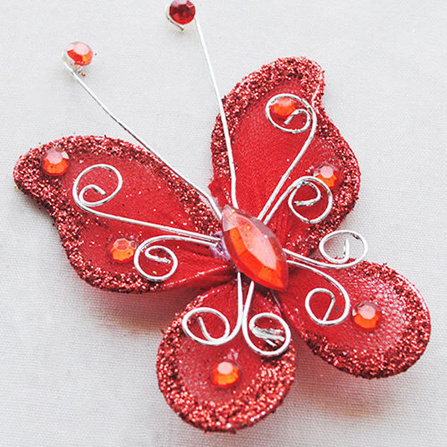 10Pcs  Mixed Organza Wire Rhinestone Butterfly Wedding Decorations For Scrapbook Home Decor Party Accessories