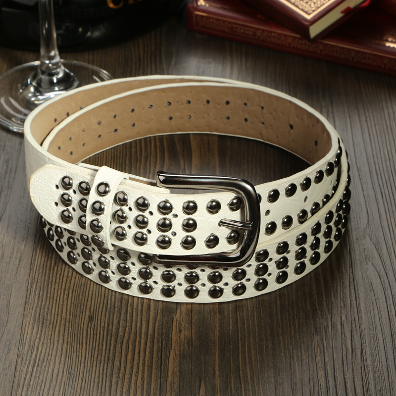 New fashion women ceinture white waist strap non-mainstream personalized rivet pin buckle belt for women female waistband(China (Mainland))