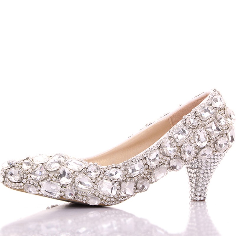 Spring Luxurious Rhinestone Wedding Shoes Big Crystal Bridesmaid Shoes Graduation Party Prom Shoes Lady Formal Middle Heel Shoes<br><br>Aliexpress