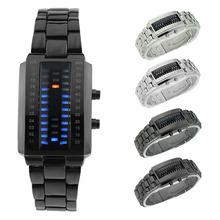 Moda Unisex hombres mujeres acero inoxidable resistente al agua binario LED azul reloj de pulsera