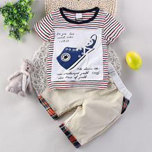 2016 New Casual Summer Clothes Suit Children Stripe Gentleman Clothing Sets Baby Boys Fashion O-Neck Clothes Kids Outfit Suit(China (Mainland))