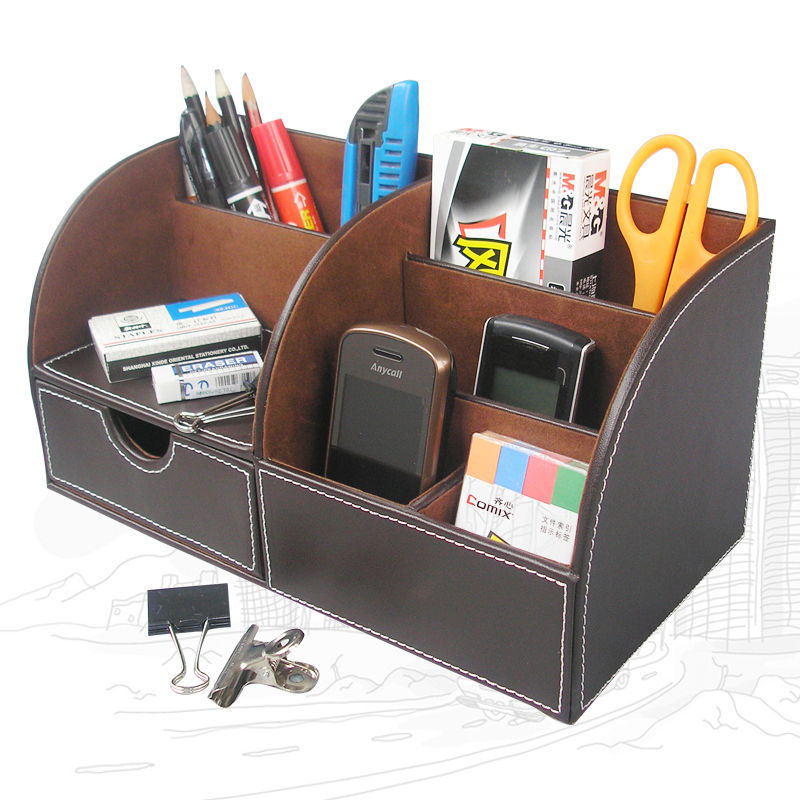 Multi function wood structure leather desk stationery organizer pen pencil holder box storage - Desk stationery organiser ...