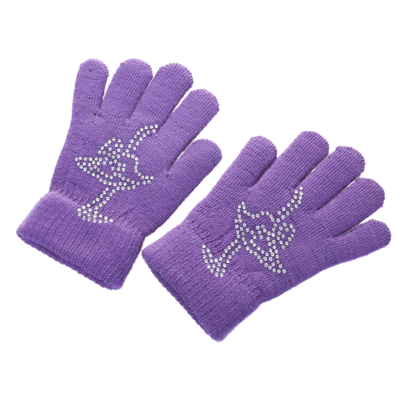 9 Colors Solid Magic Children Wrist Gloves Figure Skating Ice Training Gloves Warm Thermal Safety Child Adult Skater Rhinestone(China (Mainland))