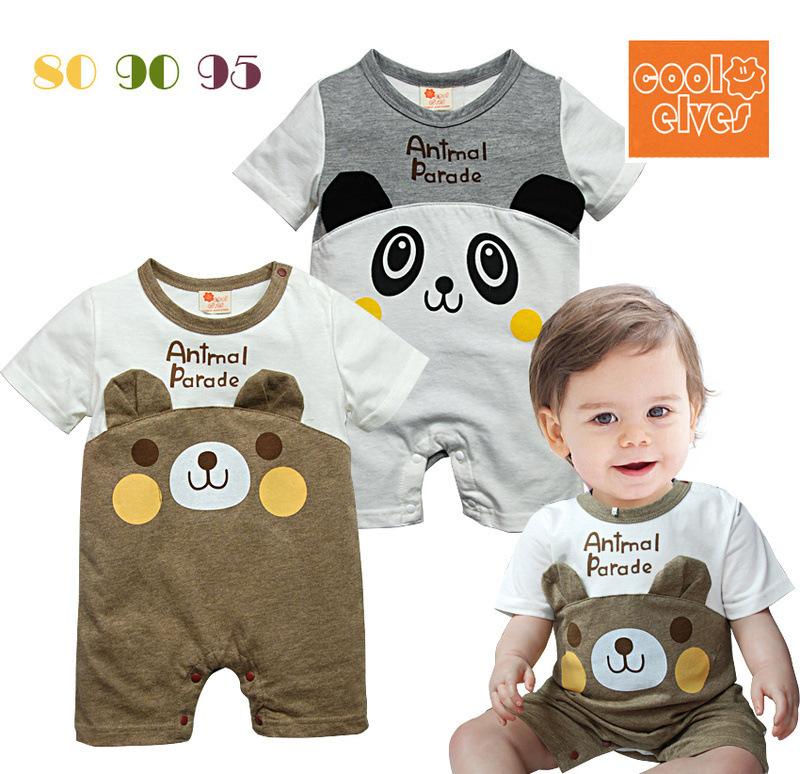 New 2015 autumn cute cartoon bear pattern baby rompers,newbron baby boy clothes jumpsuit,roupas de bebe romper(China (Mainland))