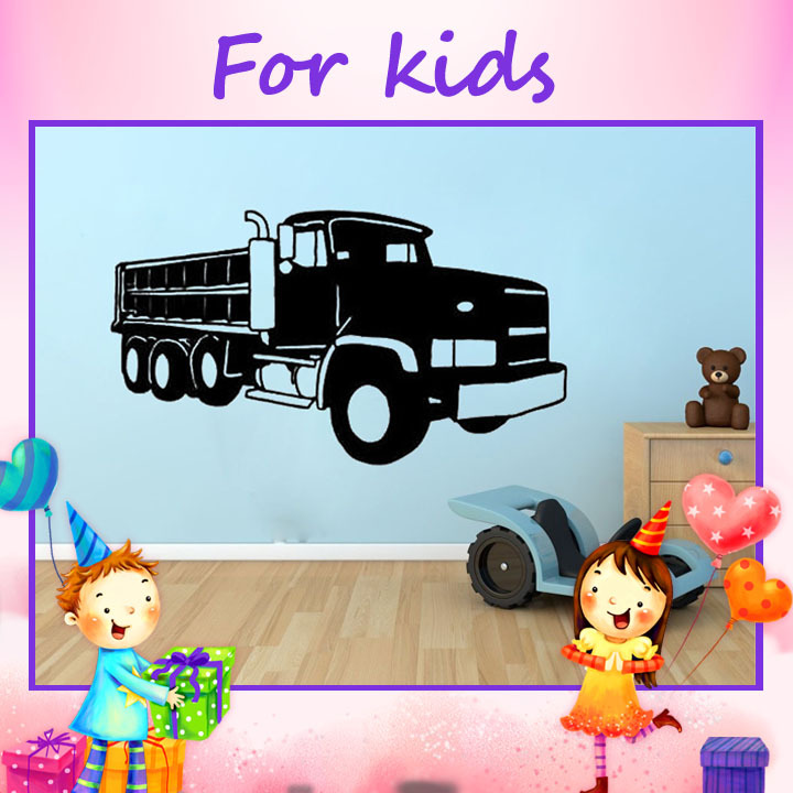 3D Sticker Wall Decoration Big Dump Truck Wall Art Decal Boys Room Decor Waterproof Wall Stickers For Kids Bedrooms(China (Mainland))