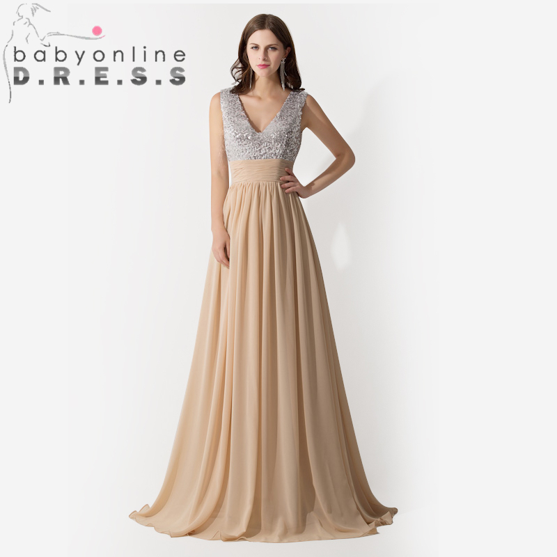 In Stock Prom Dresses New style V Neck Sequine Long Chiffon Sleeveless Elegant Prom Dresses/gown 2014 long Party Dress(China (Mainland))