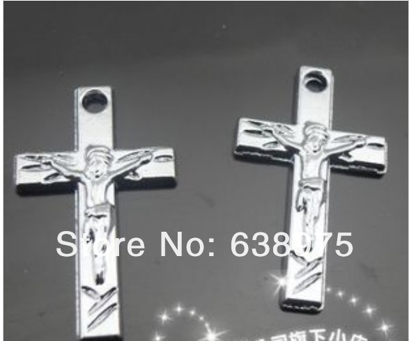 Zinc alloy with Jesus Christan Chrome Cross 100pcs Hang Pendant Charms Fit Cell Phone Charms Key Chain Pet Collar Bracelet(China (Mainland))