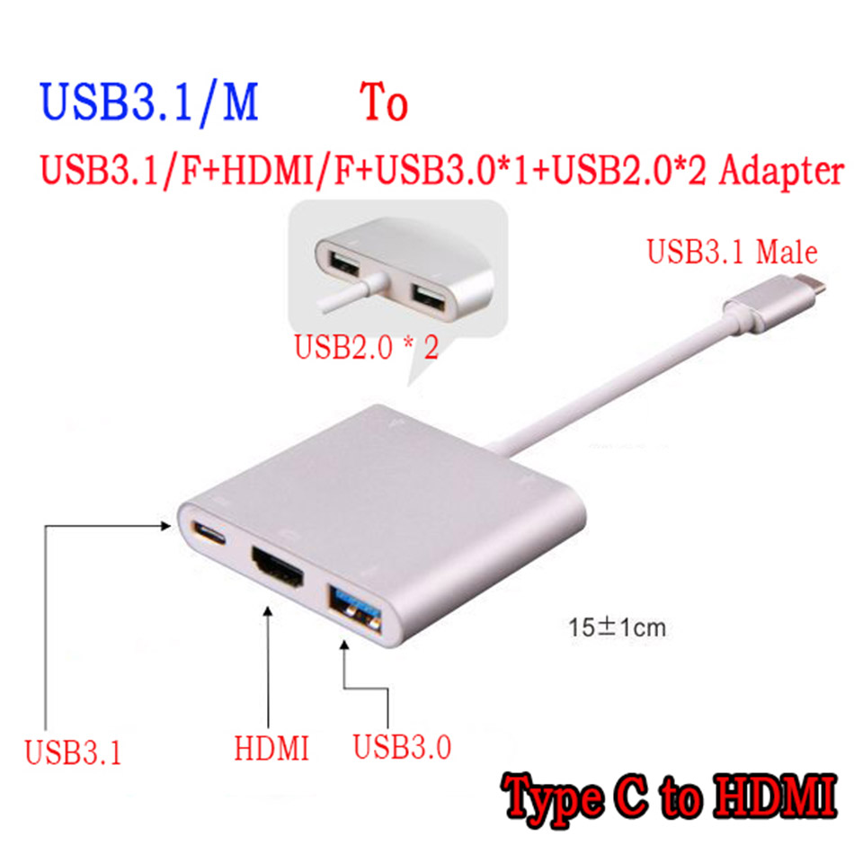 New USB 3.1 Type C to HDMI &amp;Female USB3.0 &amp; 2 port USB 2.0 HUB &amp; Charger for Pixel or Apple Macbook Multiport Adapter 4K<br><br>Aliexpress