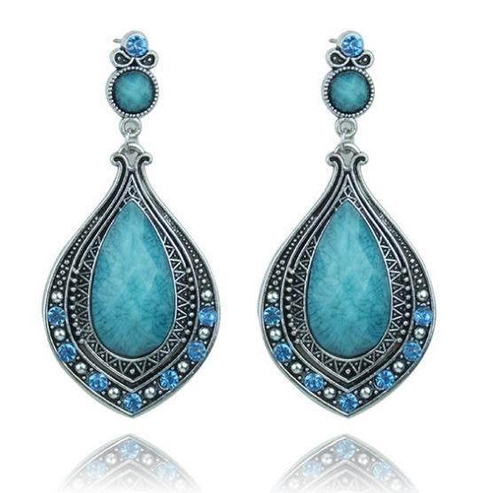 New Design Boho Jewelry Bohemian Earrings Vintage Crystal Water Drop Big Turquoise Earrings SE296(China (Mainland))