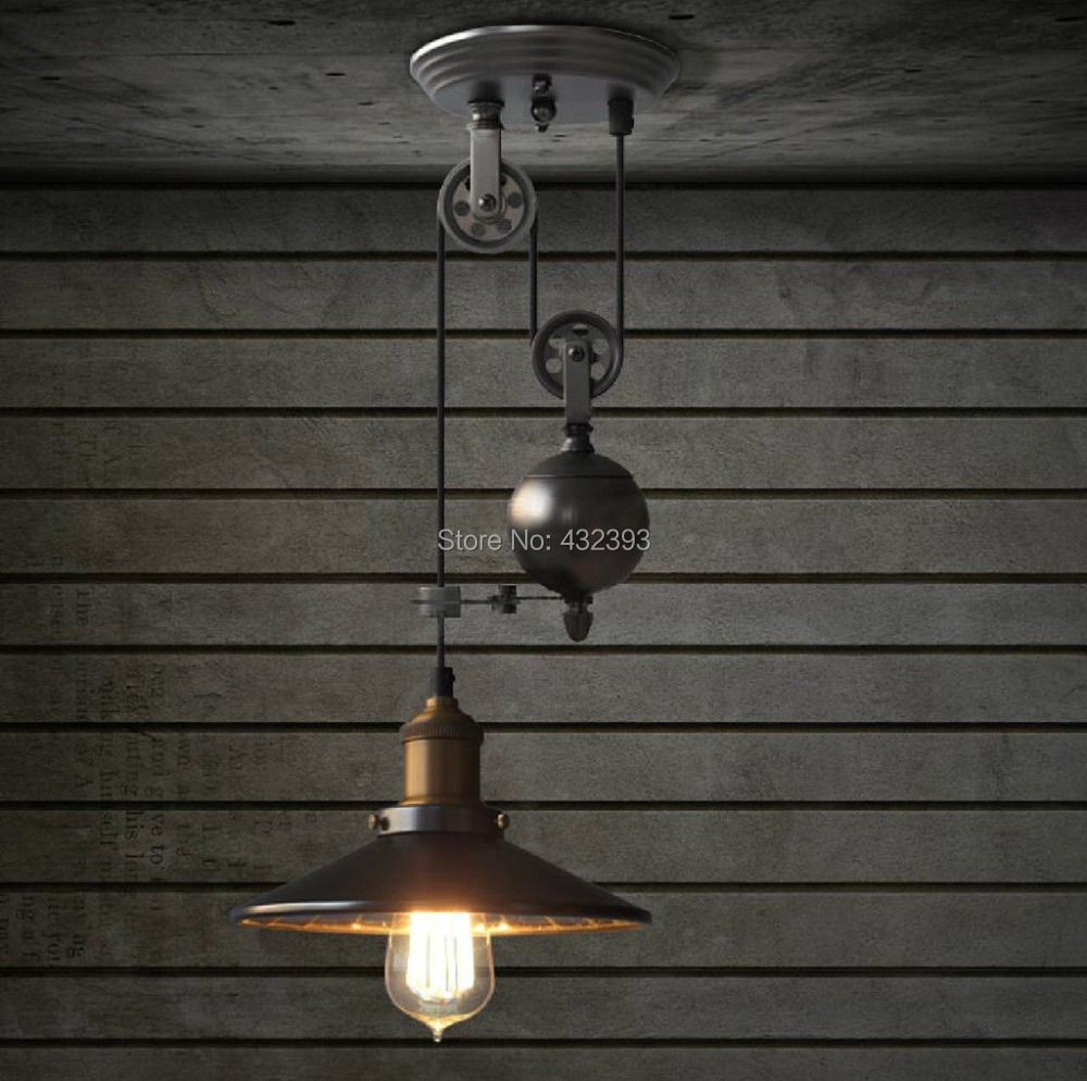 pulley pendant light edison bulb ceiling lamp mirror lifting fixture. Black Bedroom Furniture Sets. Home Design Ideas