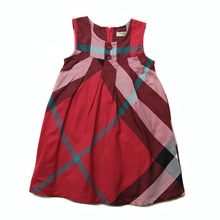 2015 New Cute 1Year To 5 Years Old Baby Girl Dress Princess For Infant Kids 3 Color Plaid Dress(China (Mainland))