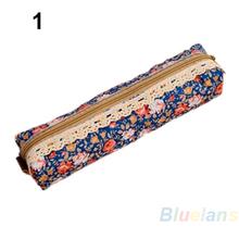 Fashion Mini Retro Flower Floral Lace Pencil Shape Pen Case Cosmetic Makeup Make Up Bag Zipper