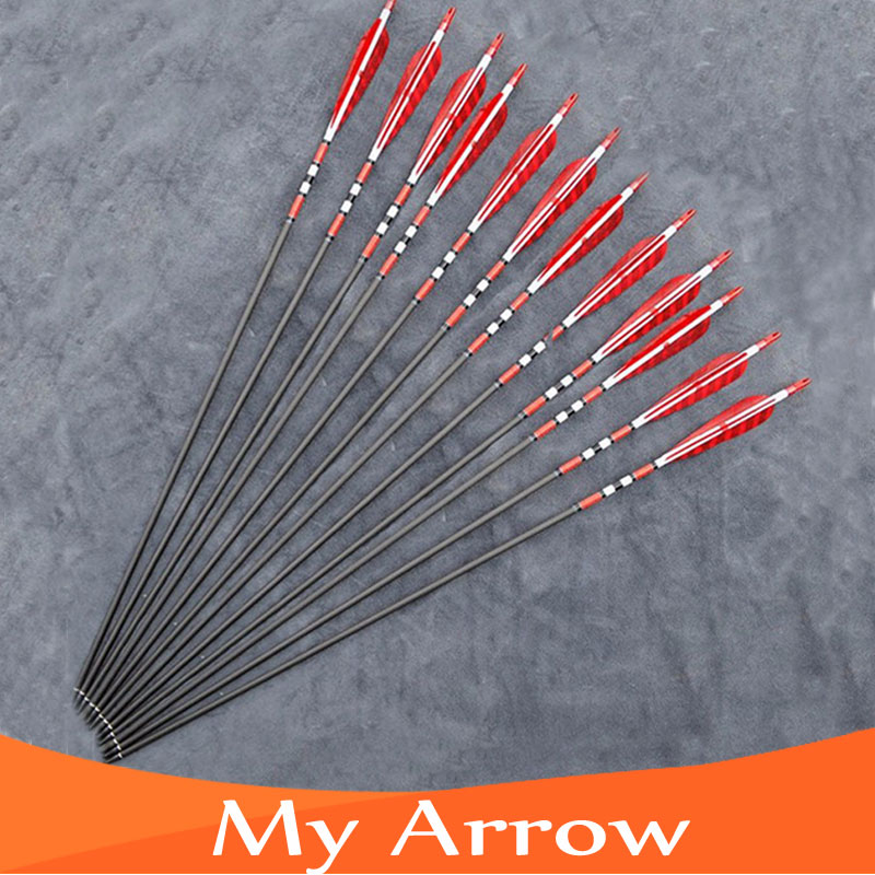 31 Carbon Arrow 12pcs Turkey Feathers Carbon Shaft Compound Bow Arrow With Replaceable Arrow Head For