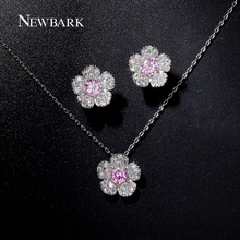 NEWBARK Fashion Silver Color Jewelry Sets Small Flower Shape Necklace And Earrings Paved Micro CZ Stone Party GiftJewelry(China (Mainland))