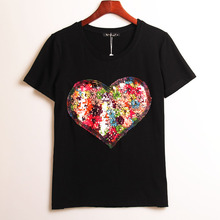 Buy 2 Colors Summer Hot T-shirt Women Sequined Love Heart Sequins T Shirt Women Tops Tee Shirt Femme Fashion Casual Woman Clothing for $7.28 in AliExpress store