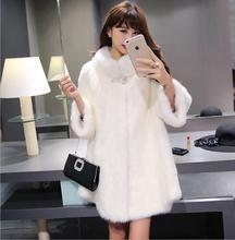 2016 new Womens Winter Mink Fur Coat Black White Long Jacket slim imitated fur coat large size XS-2XL Free shipping(China (Mainland))