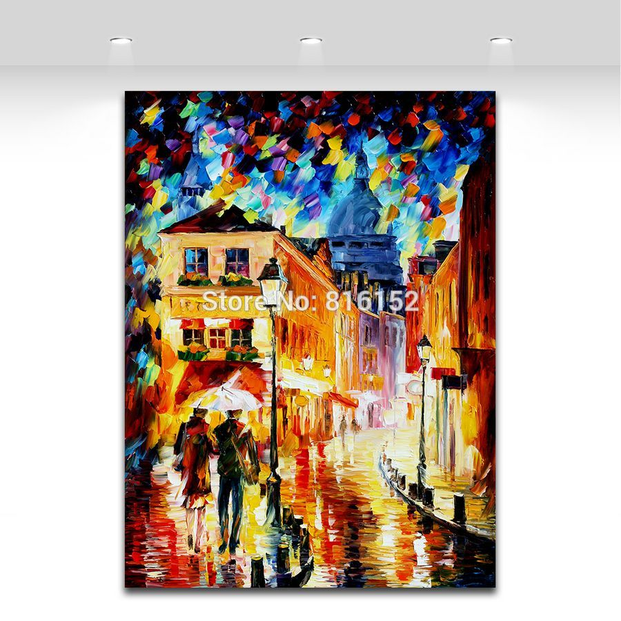 Buy 100% Hand-painted Palette Knife Canvas Painting Italy Belgium France Cityscape Architecture Art Wall Picture Home Decor No Frame cheap