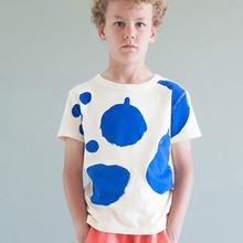 2016 nouveau mode bébé garçons filles T - Shirt feuille imprimer vêtements pour enfants tenues à manches courtes coton Casual enfants filles T Shirt(China (Mainland))