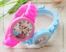 New Cartoon Children Princess  elsa and anna Watches Fashion Girl Kids Student Cute Sports Analog Wrist Watches 1pcs/lot