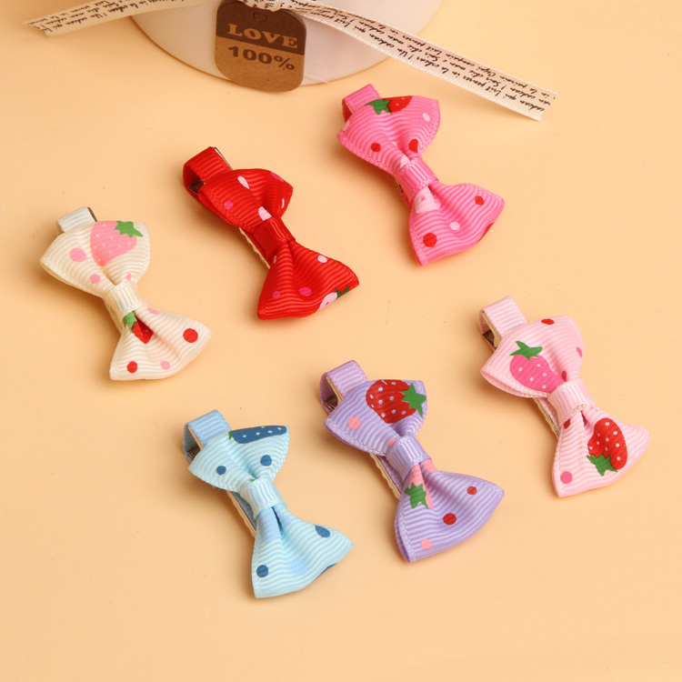 2016 New Arrival Fashion Girls Toddler Hair Clips Strawberry Headdress Ribbon Bows Drop shipping(China (Mainland))
