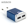 AIXXCO Power plug Aluminum 5V 2A Dual 2 port USB EU Adapter Best Wall Charger For