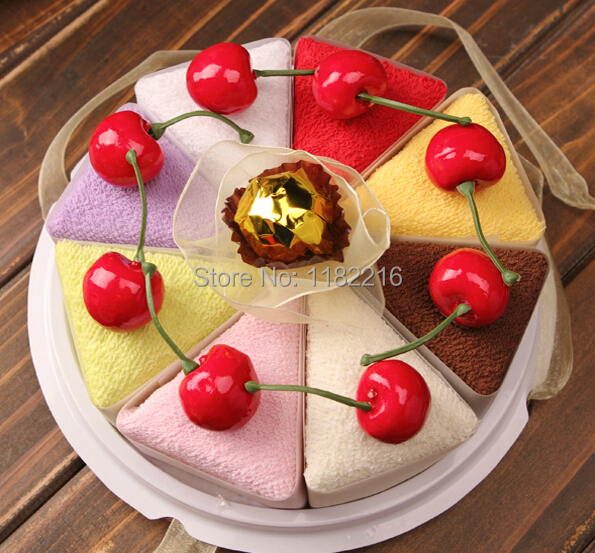8 pcs/lot Creative Cotton Sandwich Shape Cake Towel Wedding Gifts Wedding Giveaways Thanksgiving Day Christmas Gifts 20*20cm(China (Mainland))