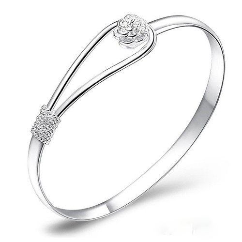 New unique jewelry Silver Simple Circle Flower Rose Cuff Bangle Bracelet jason84(China (Mainland))