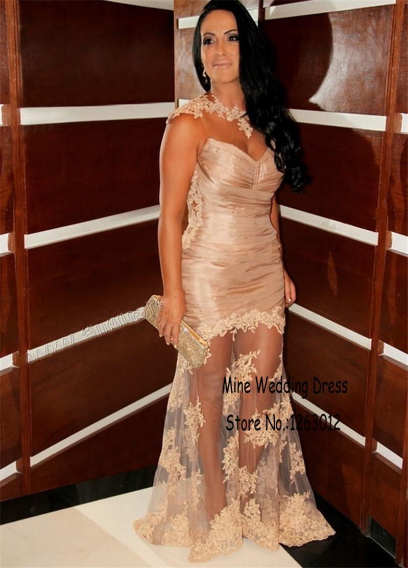Высокая шея женщины летнее платье Cap рукава платья видеть сквозь тюль элегантный вечерние платья видеть сквозь