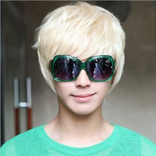 Mens Boys New Trendy Short Straight Platinum Blonde Wig Cosplay Party Costume - Fashion Store NO.1 store