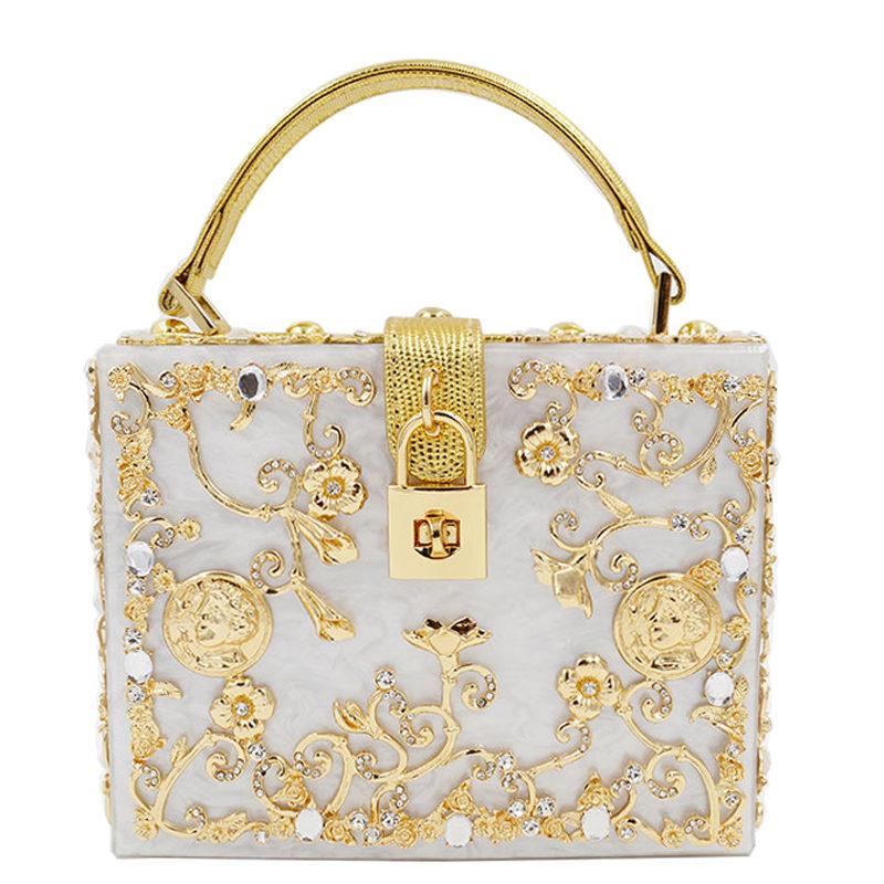 Designer Suitcase Padlock Acrylic Carved Hollow flower Top-Handle Bags Solid Shoulder Bags Evening Clutch Handbags Women XA1253A