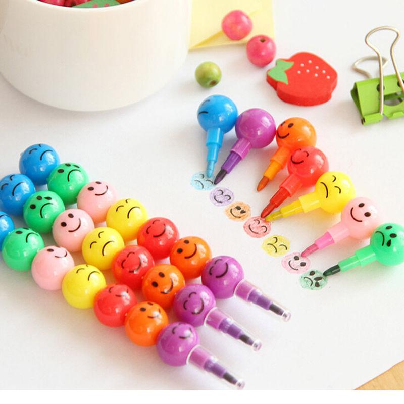 Гаджет  New Sugar-Coated Haw Cartoon Smiley Graffiti Pen 7 Colors Crayon Wax Pencil None Офисные и Школьные принадлежности