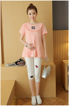 Fashion Summer Style Cotton O neck Short Sleeve Maternity pure Solid Color bow Tops/ t shirt for Pregnant Pregnancy Clothes