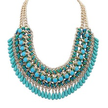 2015 Multilayer Statement Bohemian Resin Beads Collare Necklace & Pendants Gold Plated Choker Chain Necklace For Women Jewelry(China (Mainland))