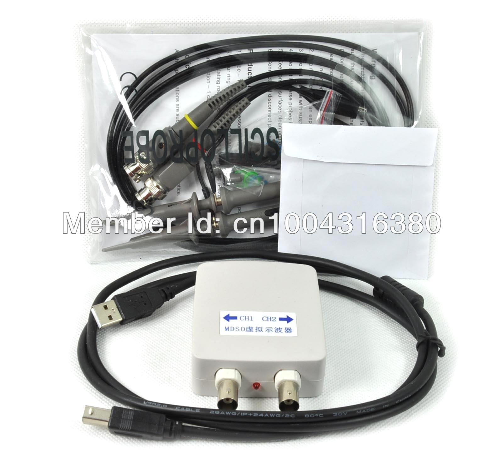 O007 MDSO PC USB oscilloscope kit Virtual analog oscilloscope Bandwidth 20M Sampling rate 48M With dual probe FREE SHIPPING(China (Mainland))