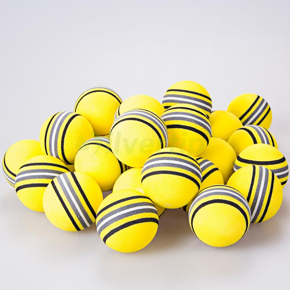 Free Shipping 30 Pack EVA Foam Golf Balls Yellow Strip Rainbow Sponge Indoor Practice Training(China (Mainland))
