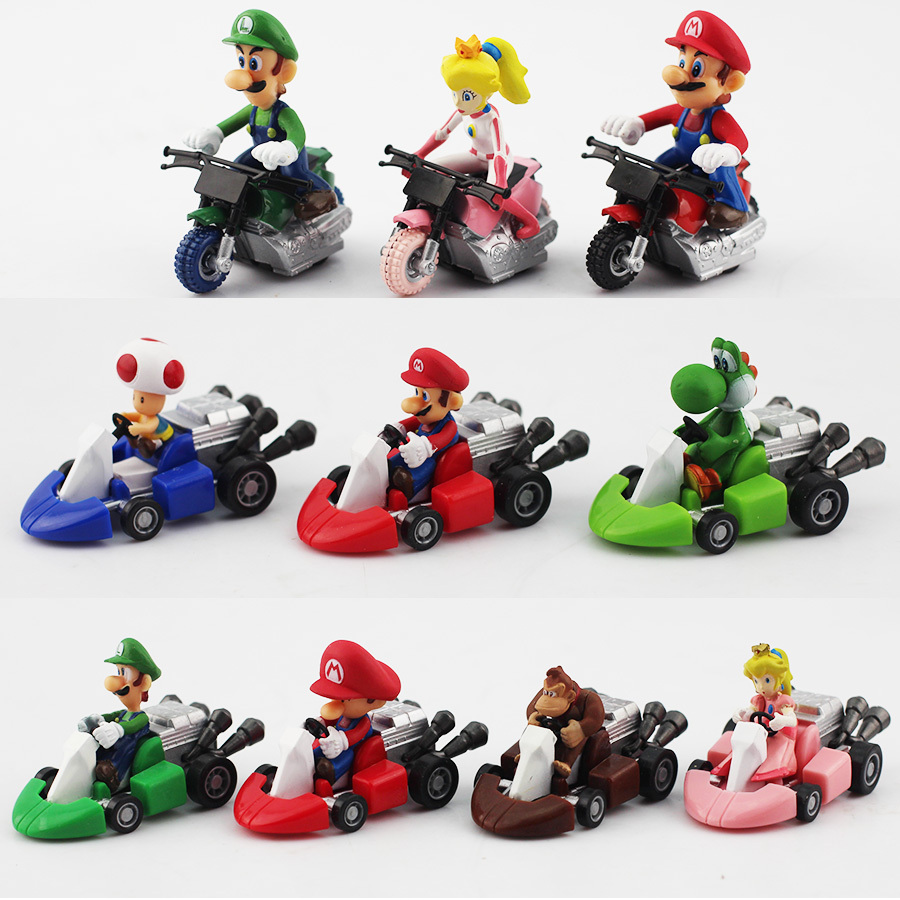 10pcs/set New Cute Super Mario Bros Kart Pull Back Car Motorcycle PVC Action Figure Toys Brithday Gift For Children(China (Mainland))