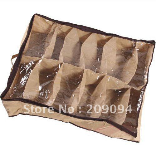 Brand New 3pcs/lot Non-woven Fabrics Shoes Storage Organizer Case Brown and Beige with Free Shipping