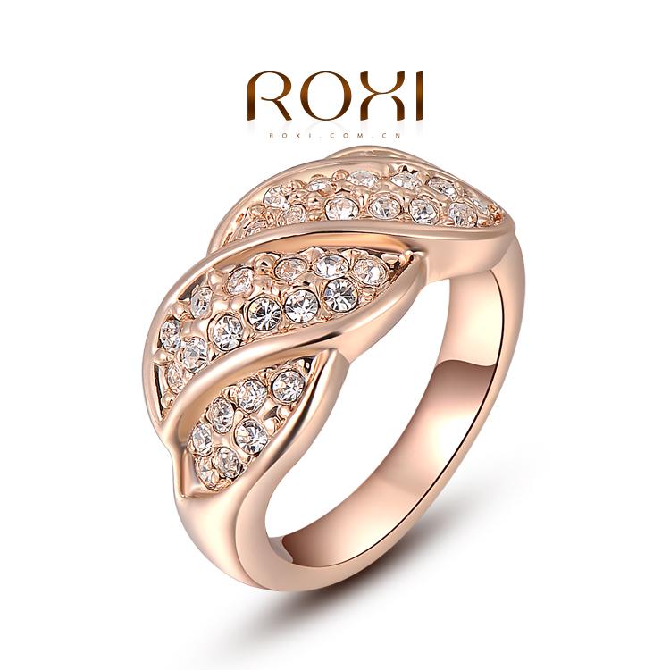 Романтический юбилейная кольцо для женщин 18 К розового золота волны-образный кольцо с SWA элемента кольца бесплатная доставка # 9 - 2010238320
