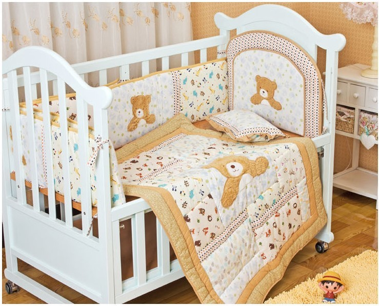 Promotion! 6PCS Crib Baby Bedding Set Baby Nursery Embroidered Cot Ropa de Cama Crib Bumper (bumper+duvet+pillow)<br><br>Aliexpress