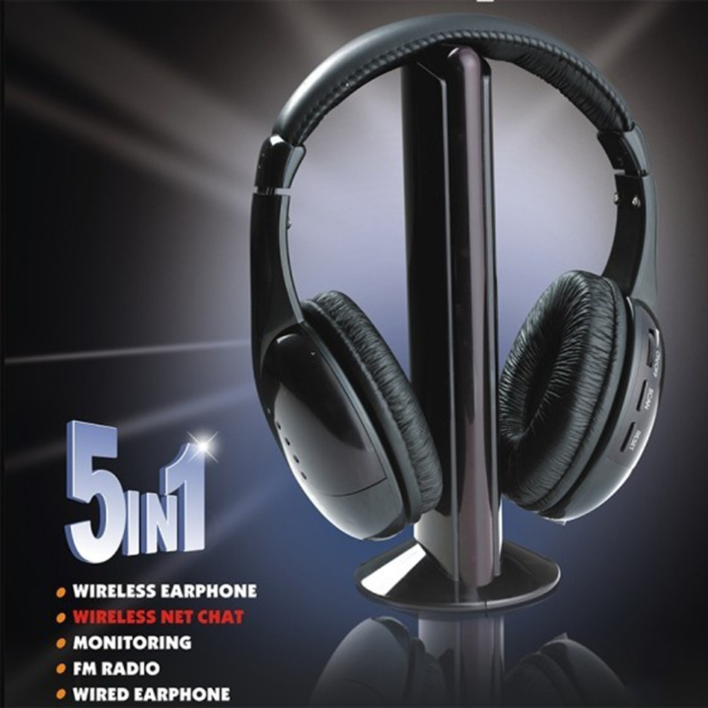 Black 5 in 1 Wireless Cordless Headphone Headset Earphone for PC TV Radio Wireless Headphone Gaming