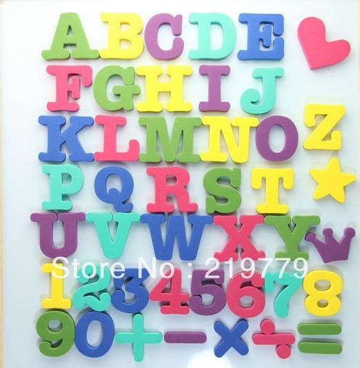 3 sets/lot Digital Alphabet Letters white board Fridge Magnets Magnetic EVA Puzzle Refrigerator Stickers Education toy Children(China (Mainland))