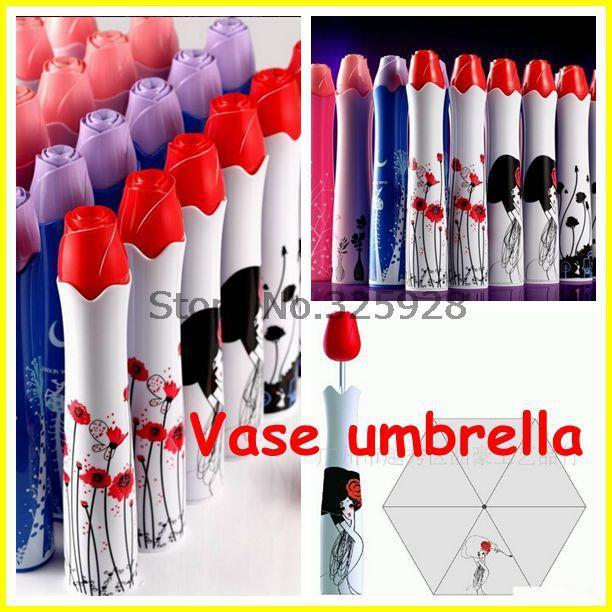 100 pcs/lot Perfume umbrella / wine bottle umbrella, mix order Rose Vase umbrella,japanese umbrella(China (Mainland))