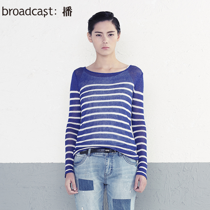 free shipping broadcast spring new arrival formal long-sleeve low o-neck stripe pullover sweater women sweater BDH1EZ0753(China (Mainland))