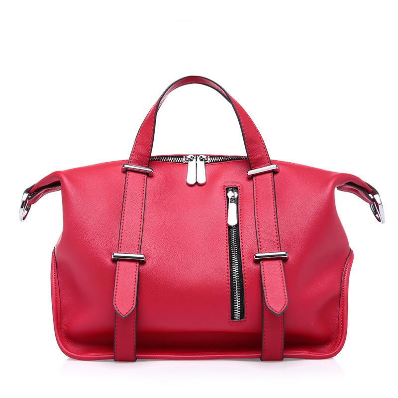 Fashion Women Genuine Leather Handbag Ladies Zipper Solid Cowhide Tote Crossbody Bags Female Bolsas QZ5653<br><br>Aliexpress